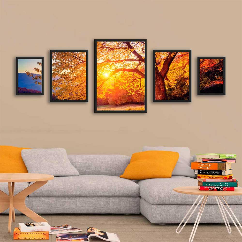 Kit Mosaico de Quadros Paisagem Árvore Pôr do Sol