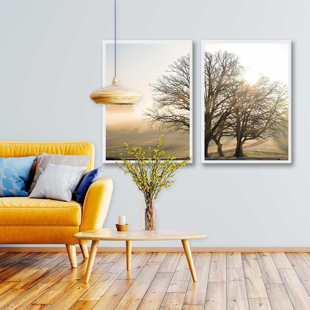 Kit Quadros Decorativos Árvore Paisagem