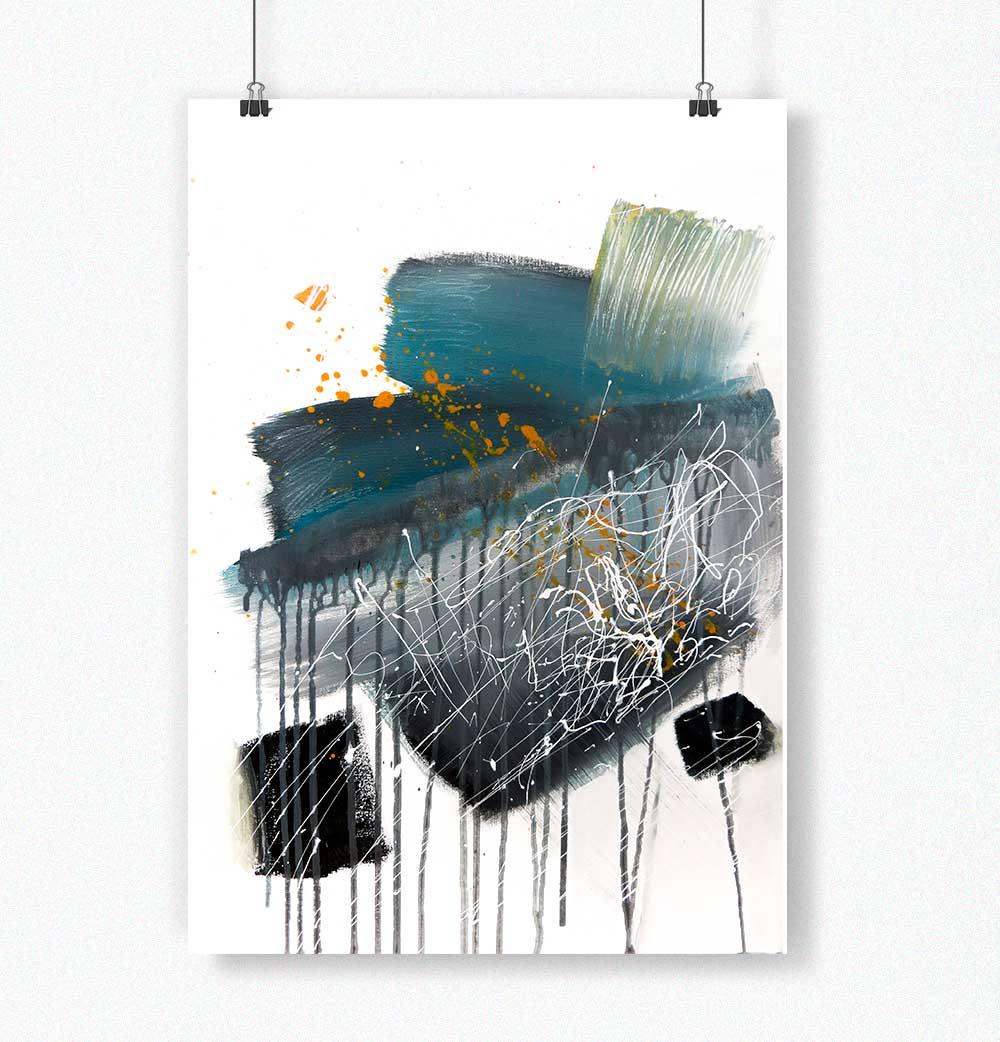 Poster Abstrato Azul/Verde