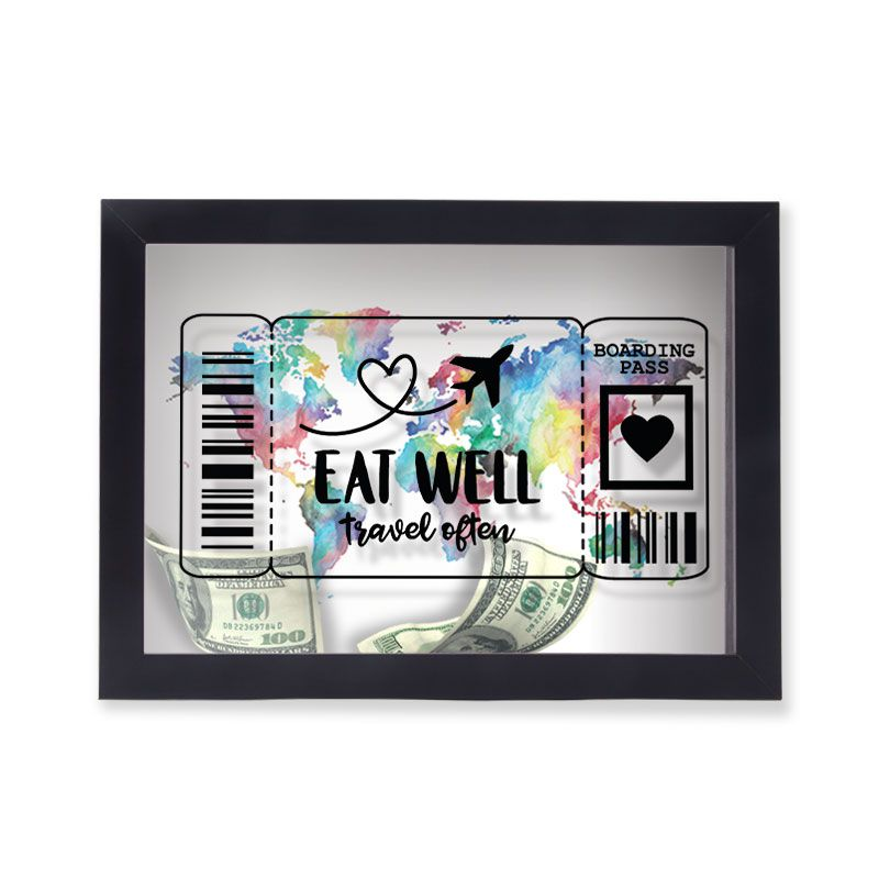 Quadro Cofre Eat Well Travel After Escrito em Preto