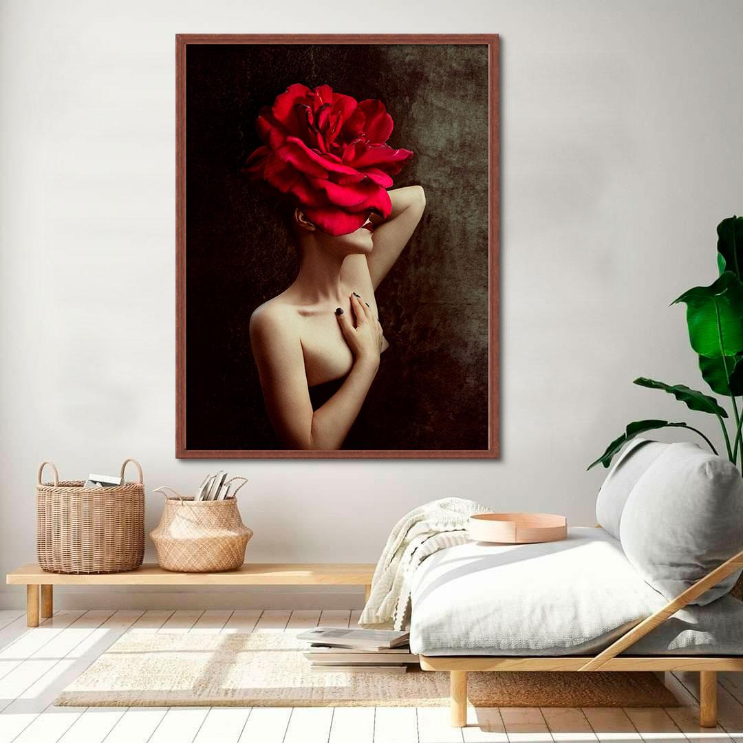 Quadro Decorativo Abstrata Flor Vermelha