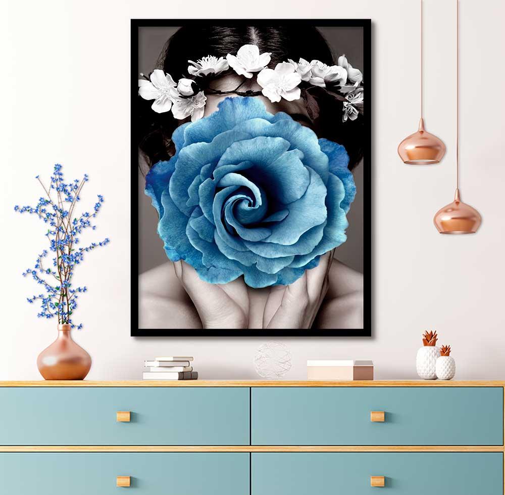 Quadro Decorativo Abstrato Flor Azul