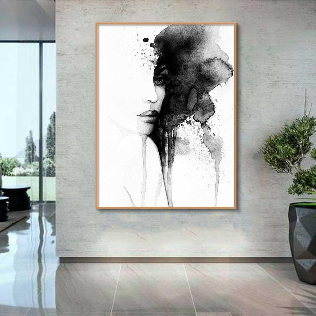 Quadro Decorativo Abstrato Rosto Feminino