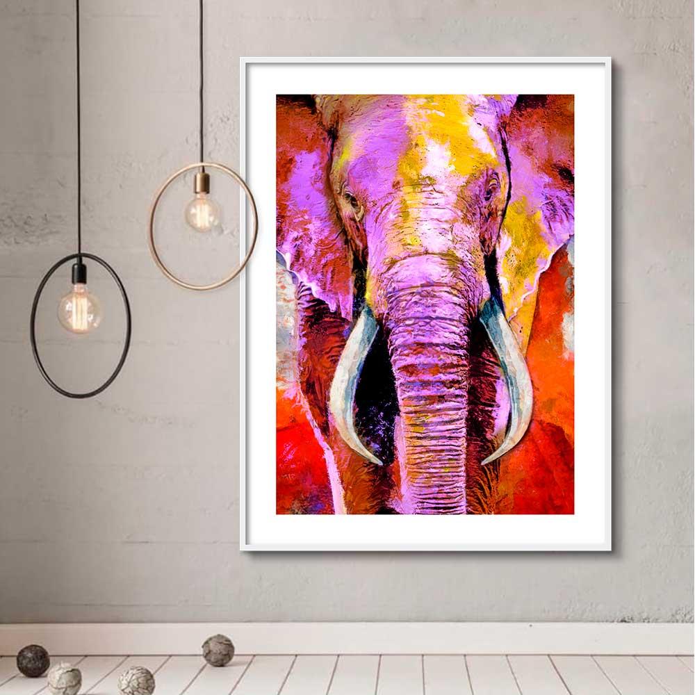 Quadro Decorativo de Animais -  Elefante Colorido