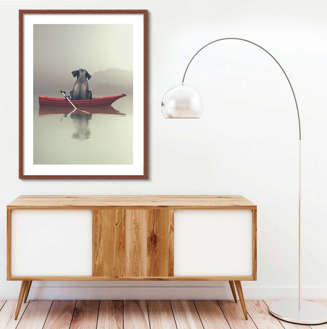 Quadro Decorativo de Animais -  Elefante no Barco