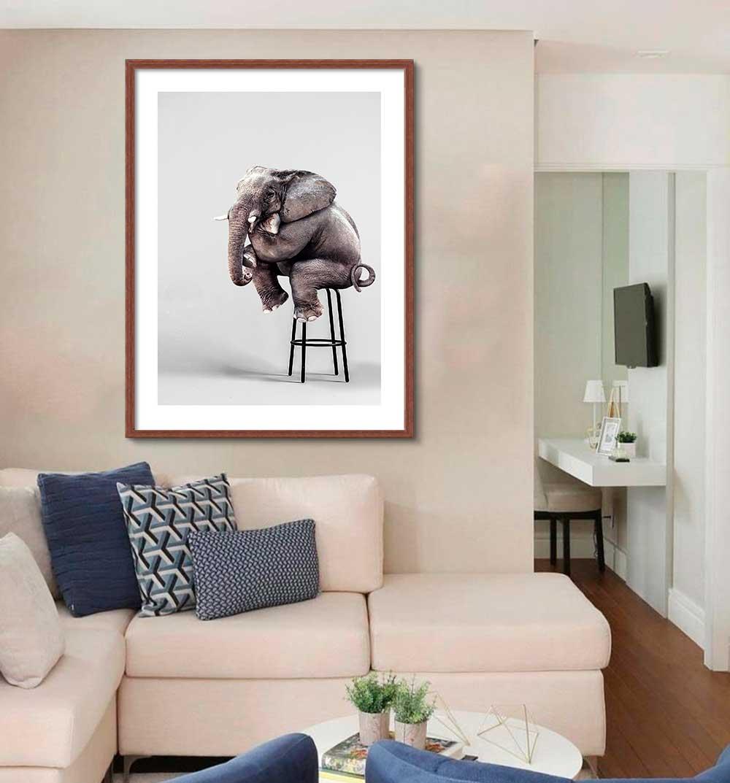 Quadro Decorativo de Animais -  Elefante Sentado no Banco