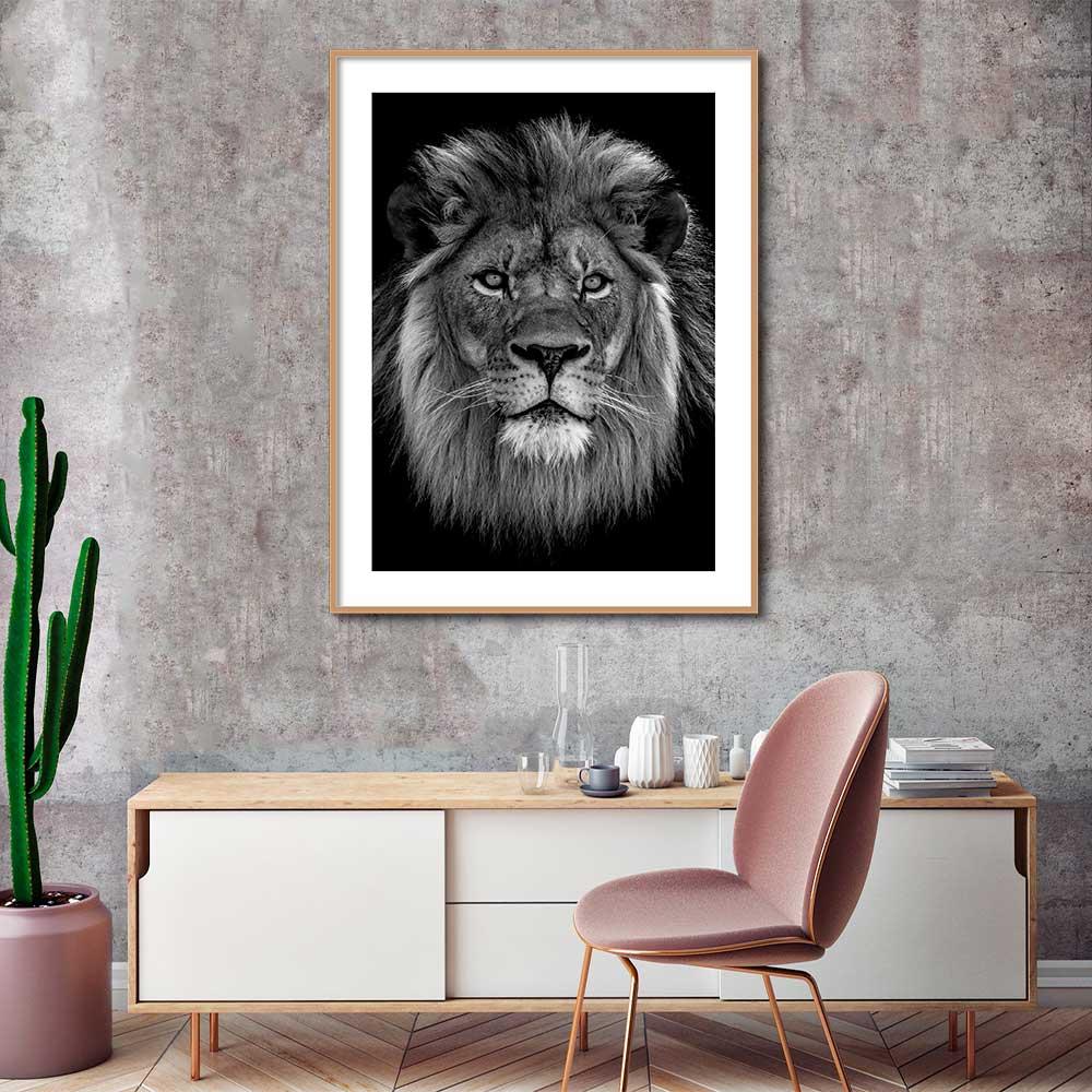 Quadro Decorativo de Animais -  Fotografia Leão Preto e Branco
