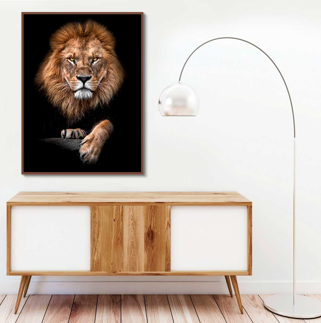 Quadro Decorativo Leão Fundo Preto