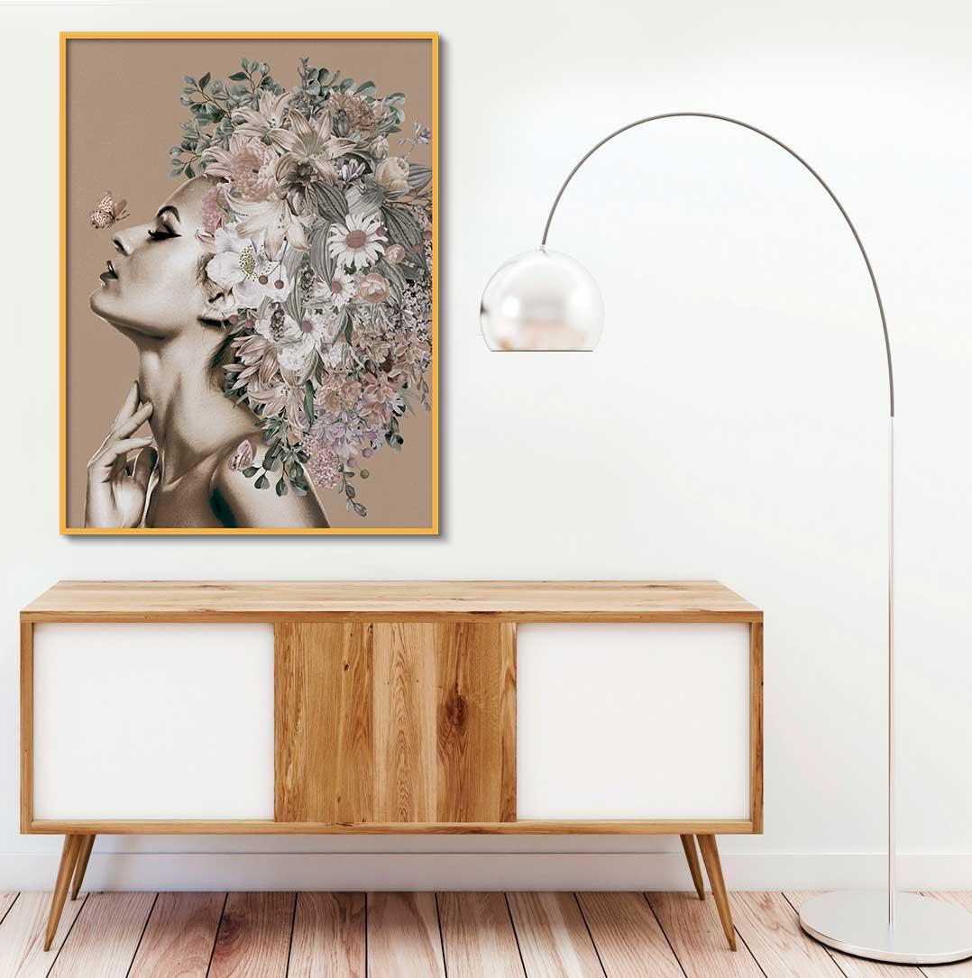 Quadro Decorativo Mulher com Flor Artístico 01