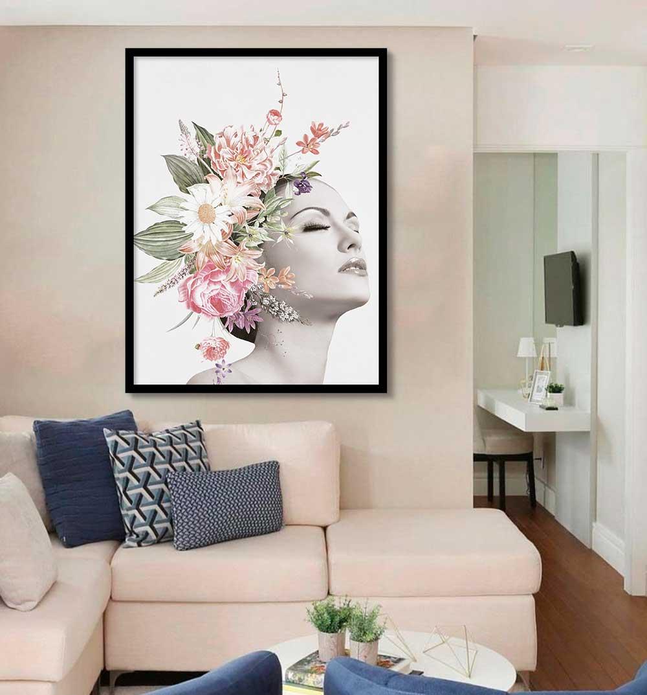 Quadro Decorativo Mulher com Flor Artístico 02