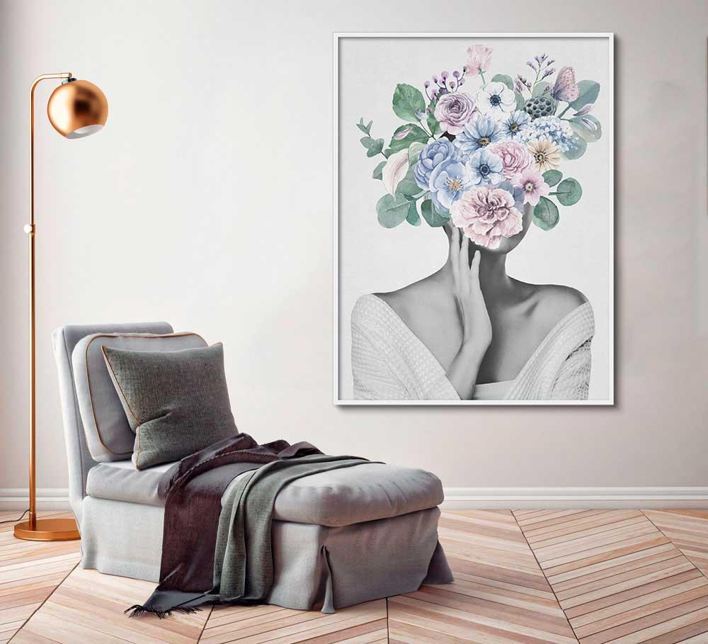 Quadro Decorativo Mulher com Flor Artístico 03