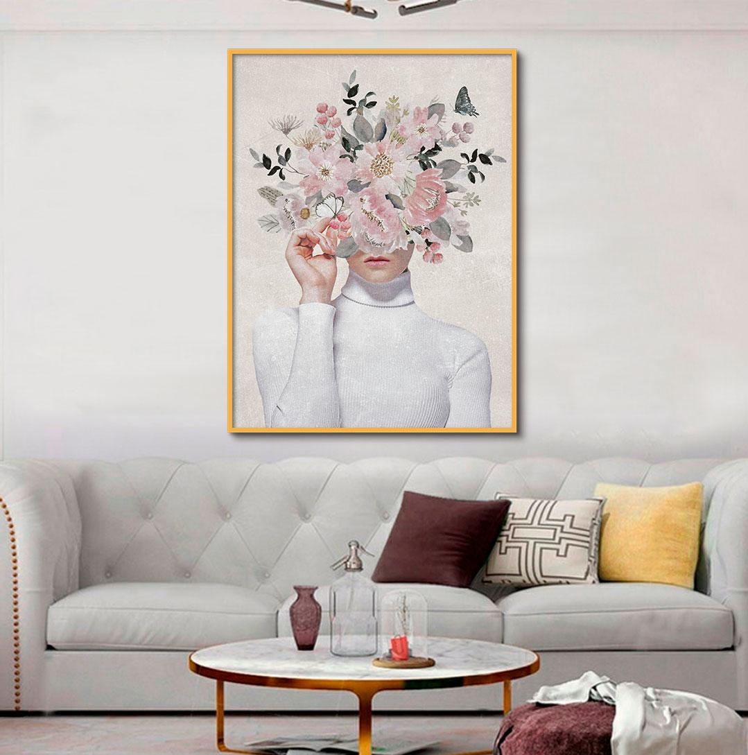 Quadro Decorativo Mulher com Flor Artístico 04