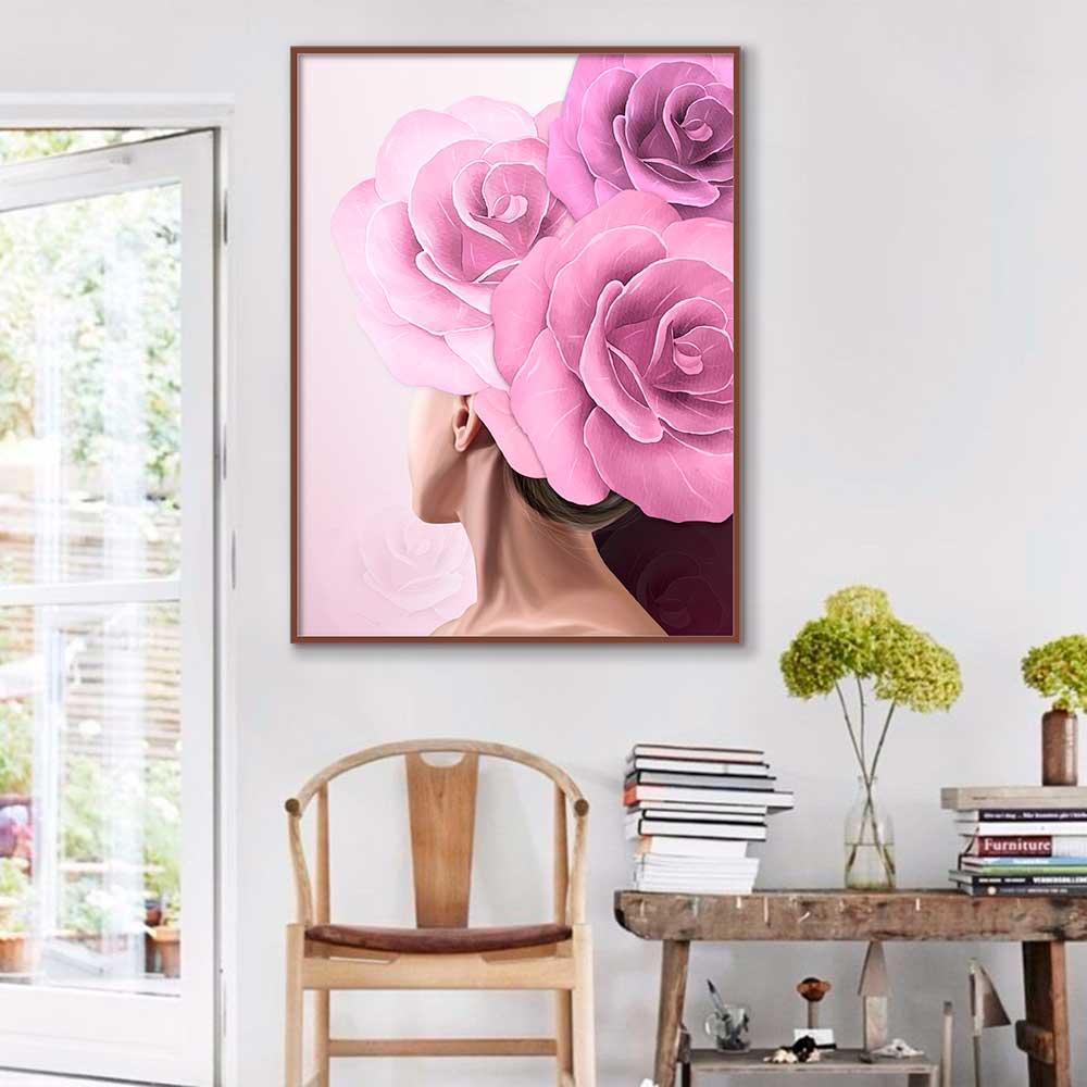 Quadro Decorativo Mulher com Flor Rosa