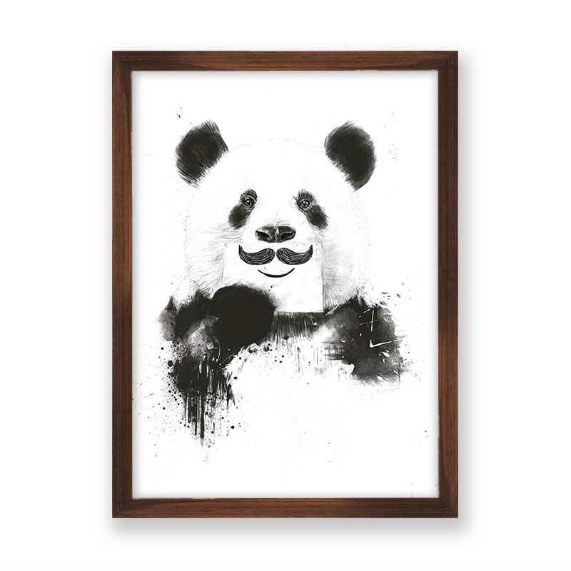 Quadro decorativo Panda Mustache | Bigode |