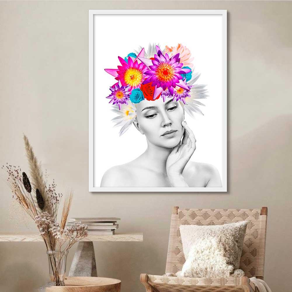 Quadro Decorativo Rosto Feminino com Flores Artístico