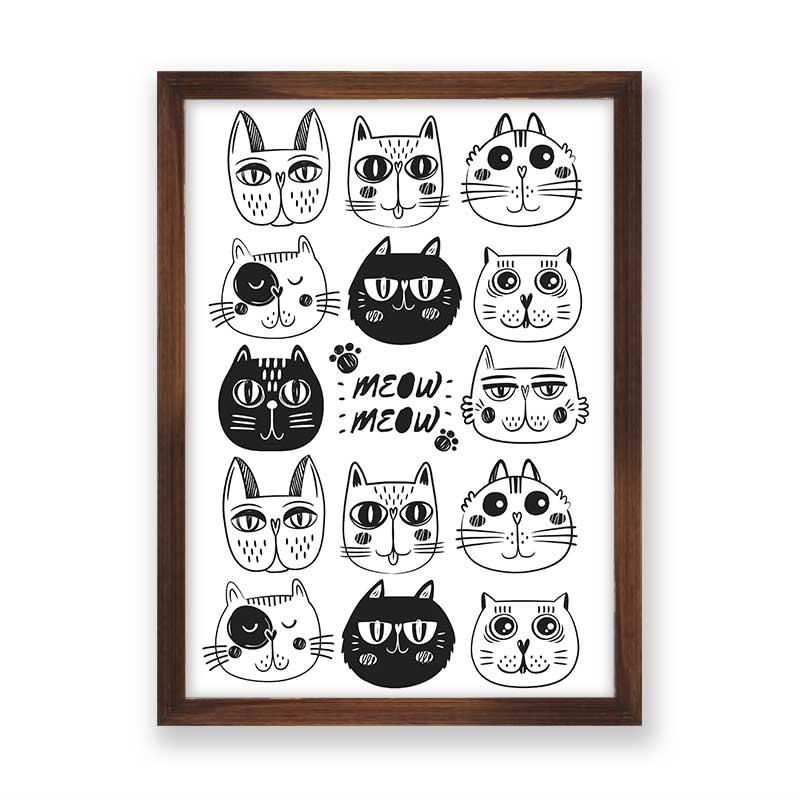Quadro decorativo Rostos de Gatinhos
