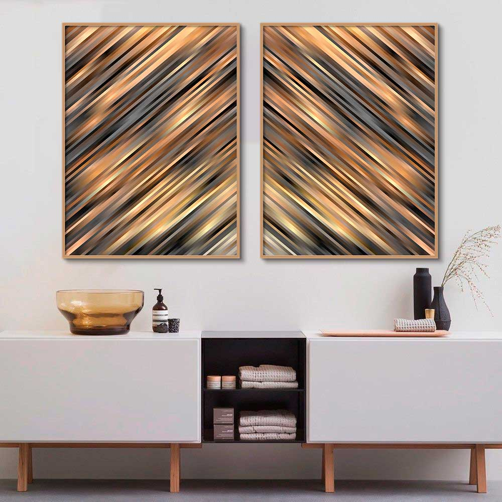 Quadros Decorativos Abstrato Arte Dourada