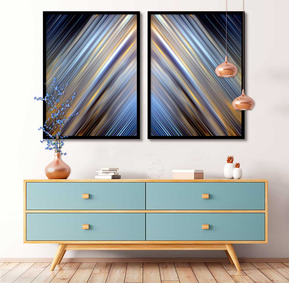 Quadros Decorativos Abstrato Arte Efeito Luzes Azul