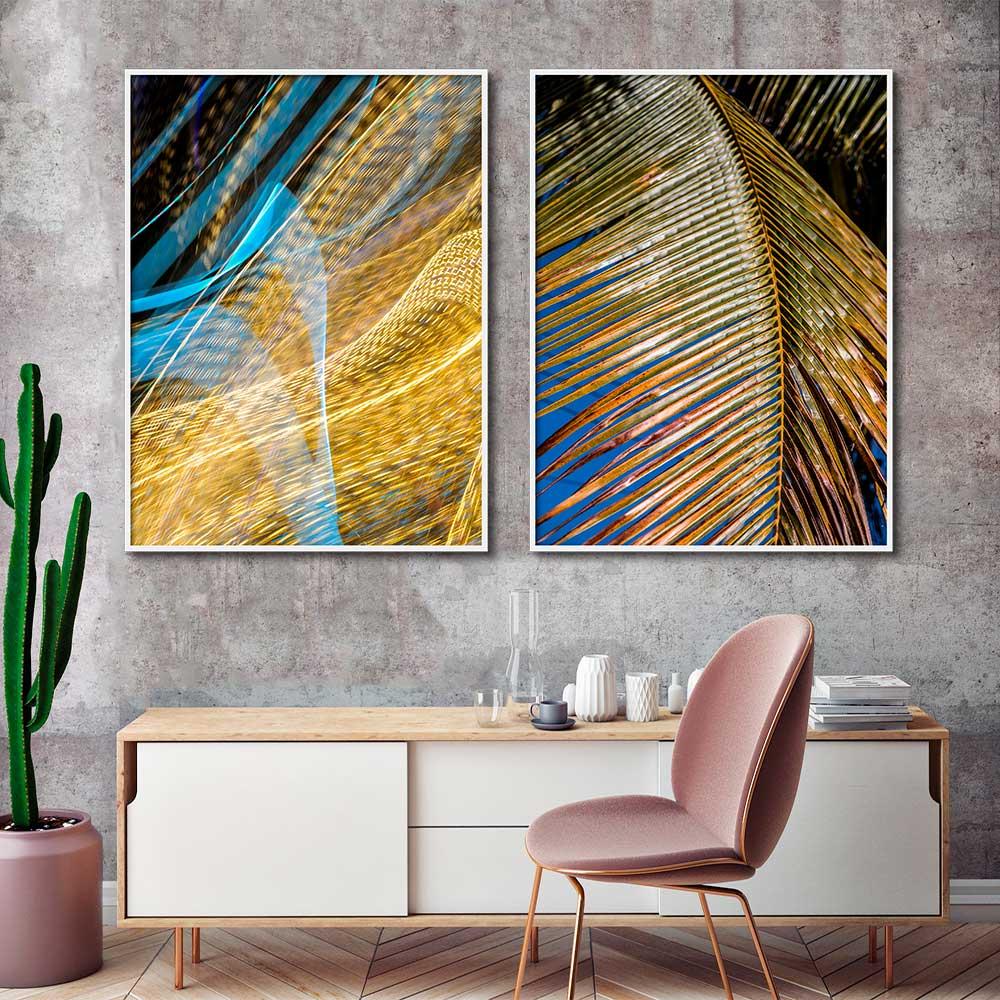 Quadros Decorativos Abstrato e Folhas Efeito Neon