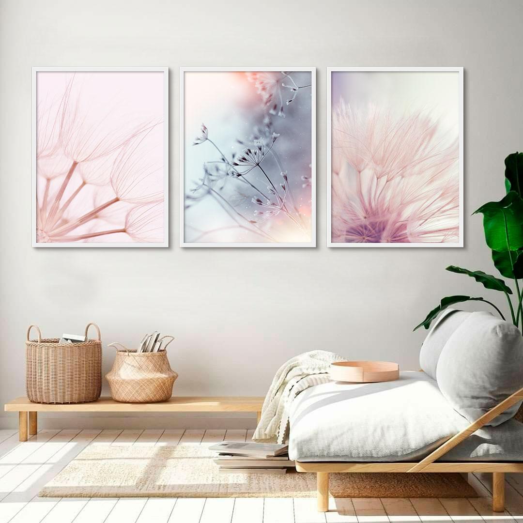 Quadros Decorativos com Flores Delicadas