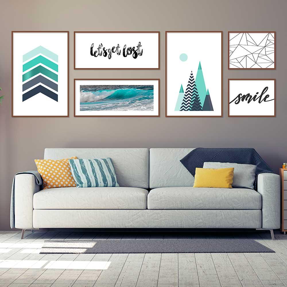Quadros Decorativos Composição com 06 pçs Tons Azuis