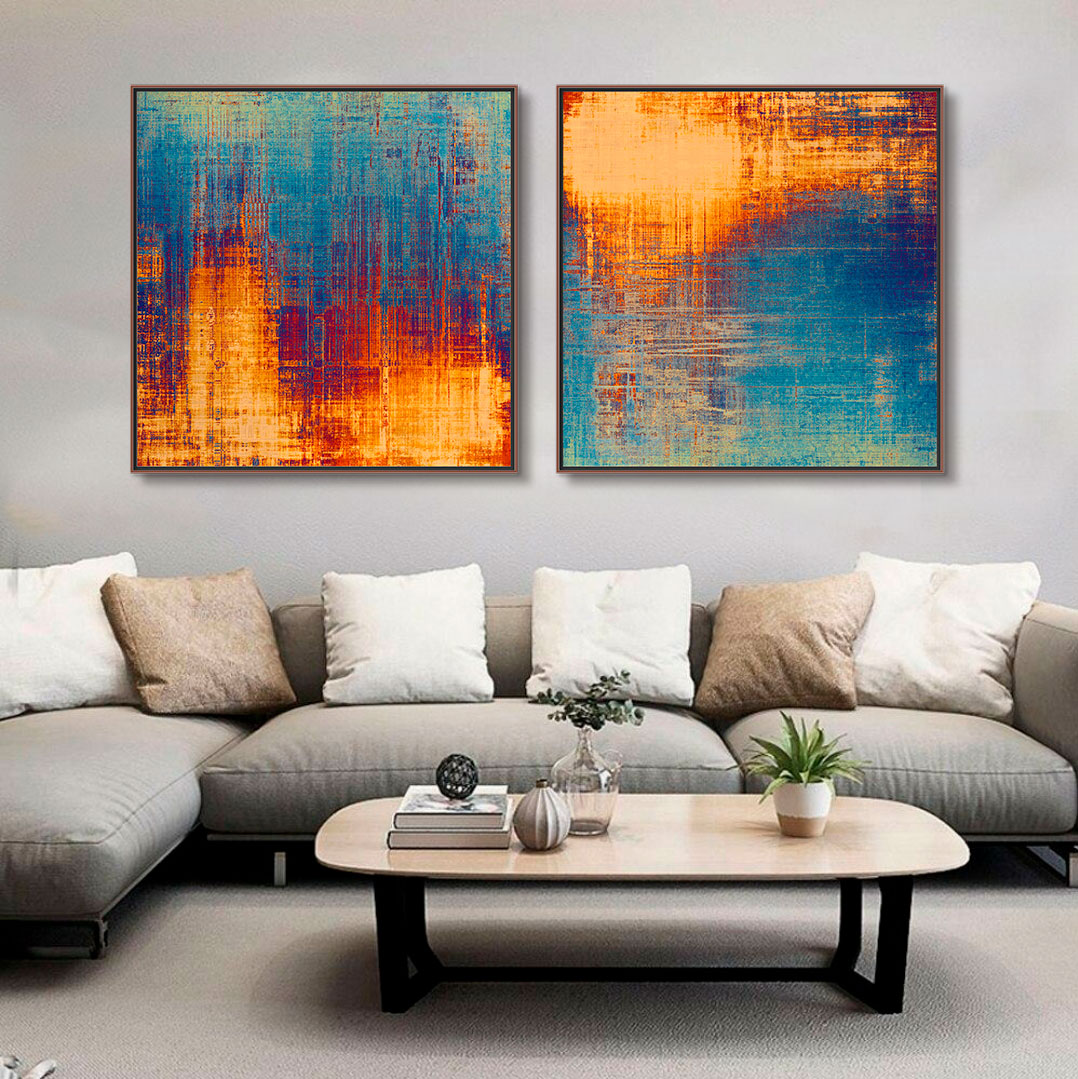 Quadros Decorativos em Tecido Canvas - Abstrato Azul e Dourado