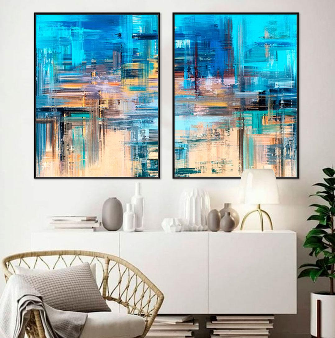 Quadros Decorativos em Tecido Canvas - Arte Abstrata Azul