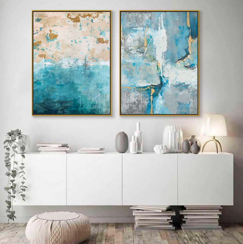 Quadros Decorativos em Tecido Canvas - Arte Abstrata Azul & Dourada