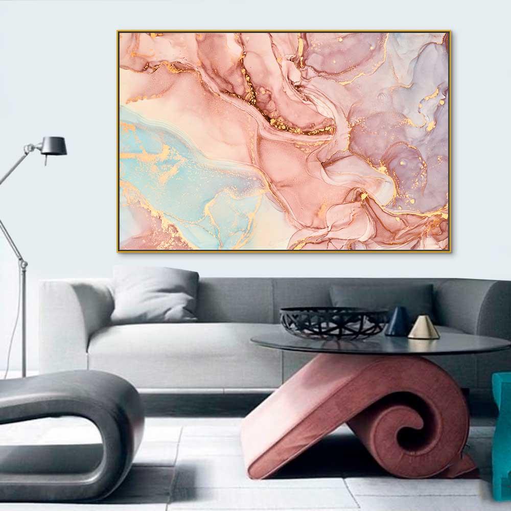 Quadros Decorativos em Tecido Canvas - Arte Abstrata Marmore
