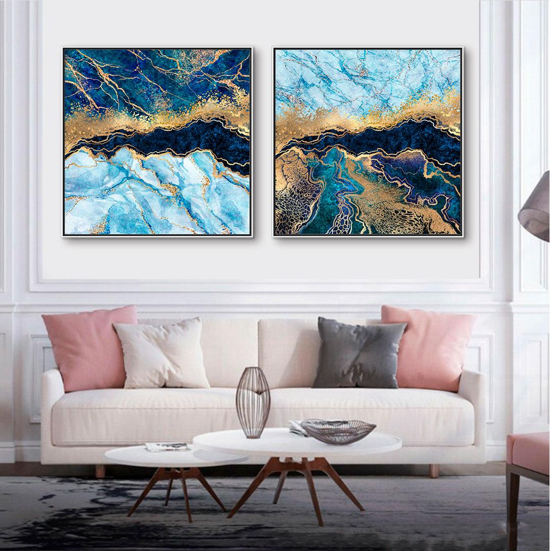 Quadros Decorativos em Tecido Canvas - Arte Marmorizada Abstrata Azul