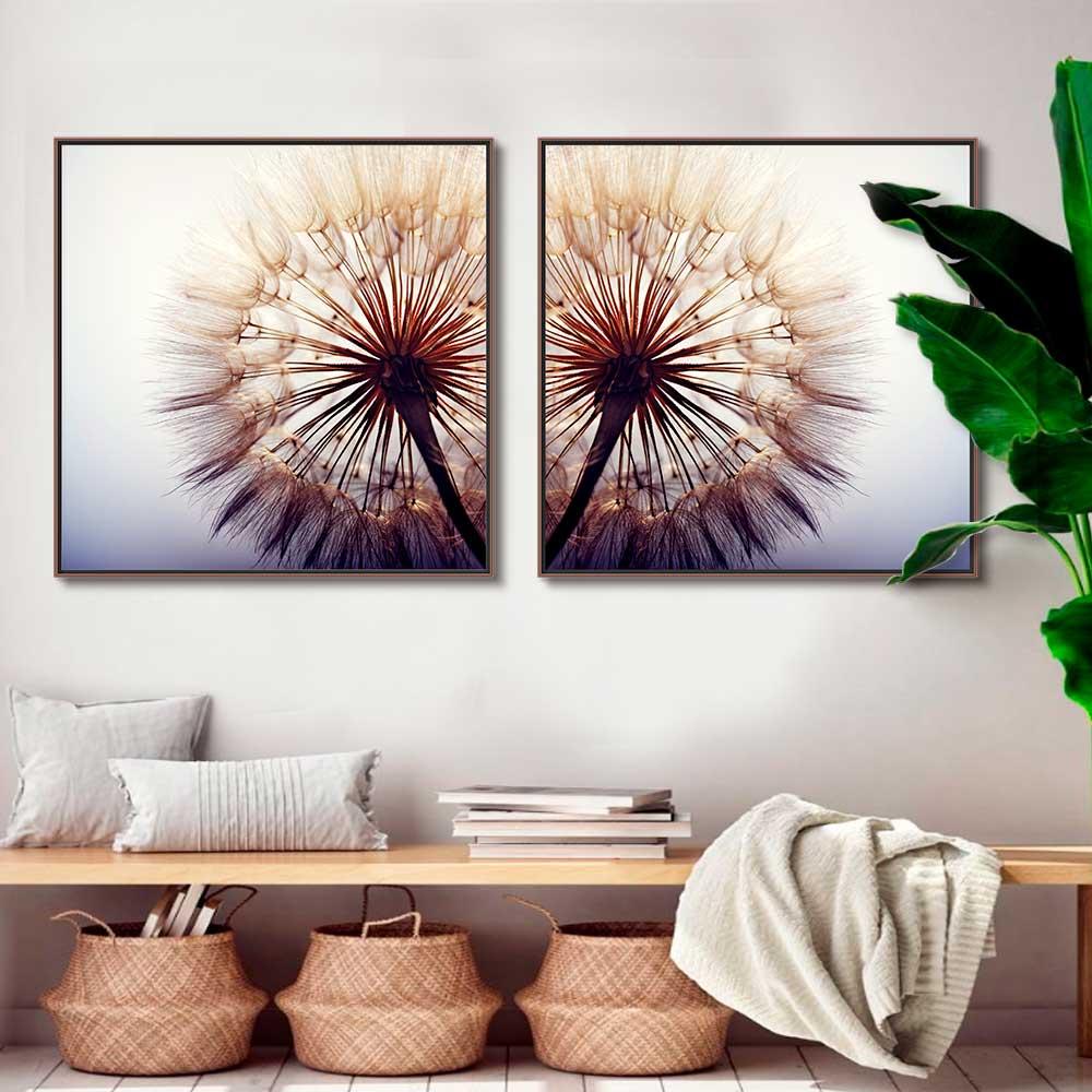 Quadros Decorativos em Tecido Canvas - Dente de Leão Quadrado