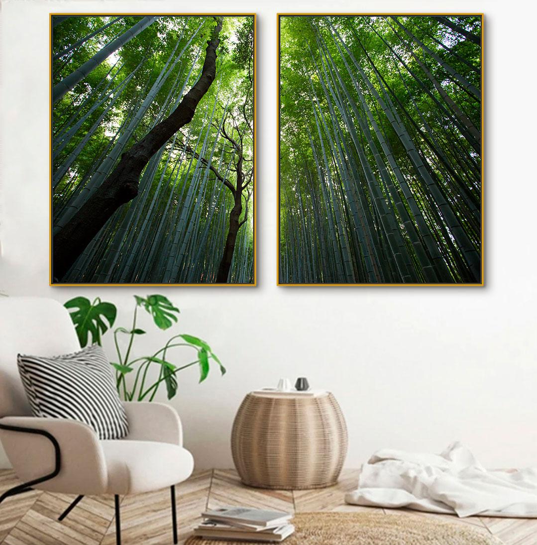 Quadros Decorativos em Tecido Canvas - Dupla de Árvores 01
