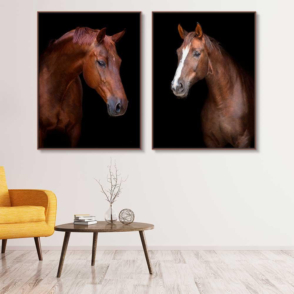 Quadros Decorativos em Tecido Canvas - Dupla De Cavalos