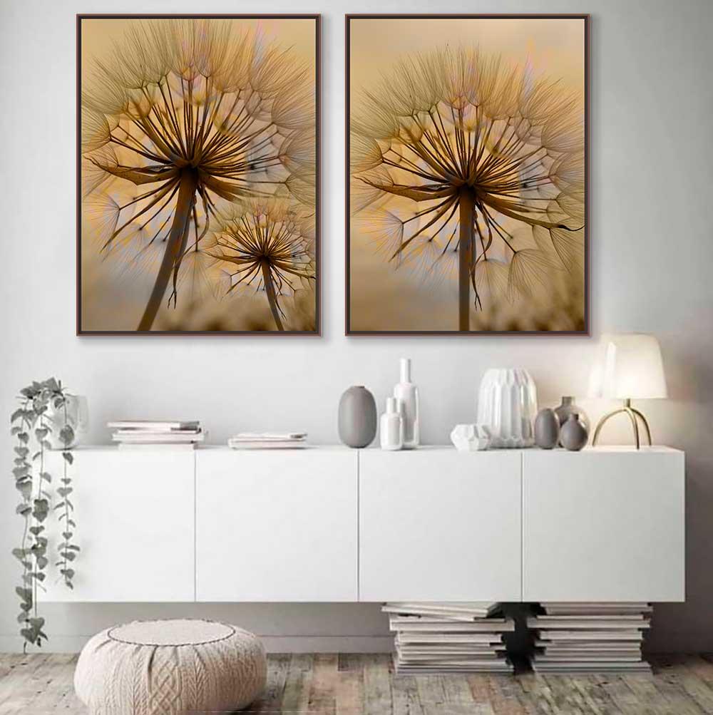 Quadros Decorativos em Tecido Canvas - Dupla Flor Dente de Leão