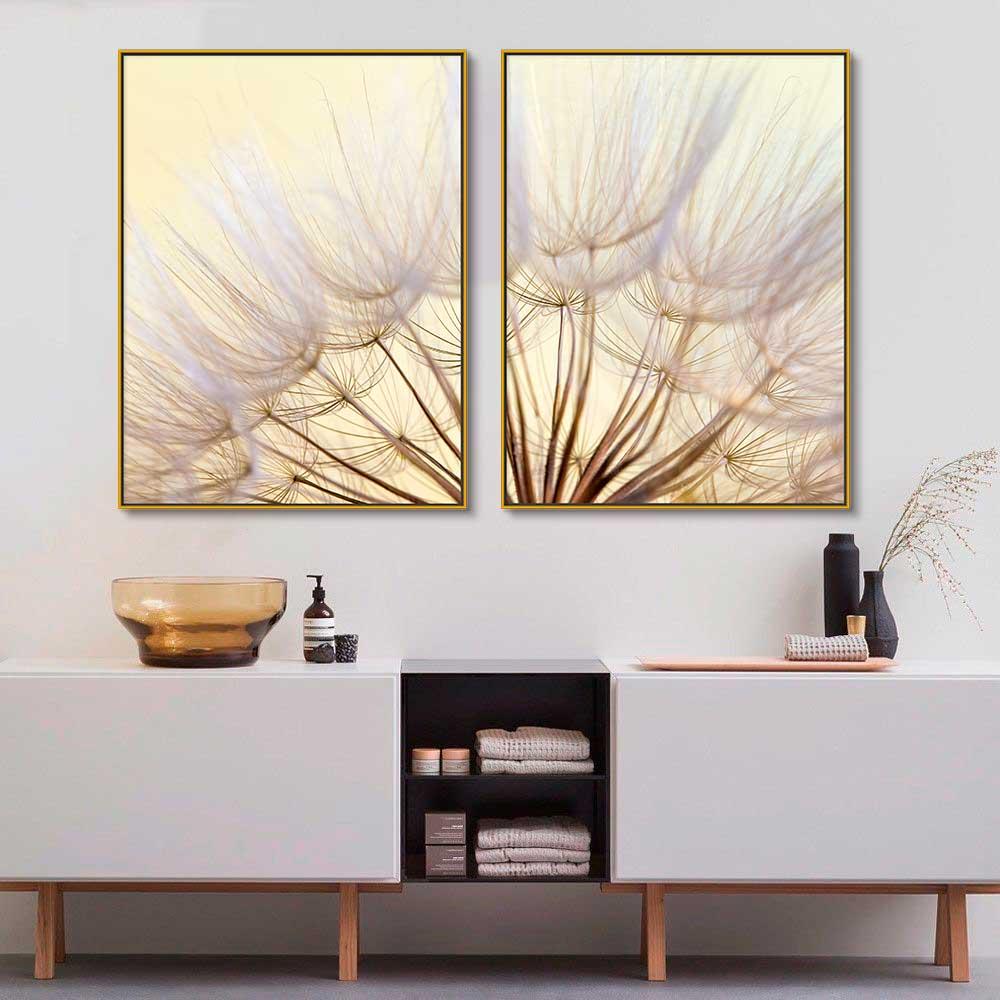 Quadros Decorativos em Tecido Canvas - Flor Dente de Leão Close