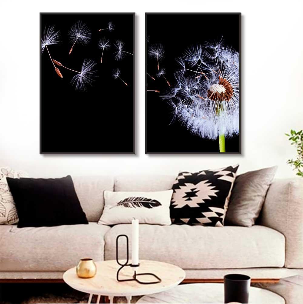 Quadros Decorativos em Tecido Canvas - Flor Dente de Leão Com Fundo Escuro