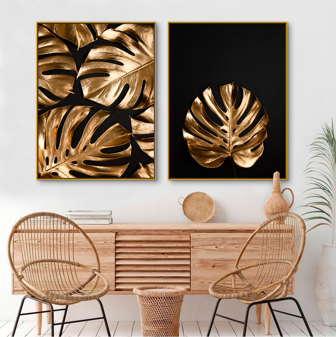Quadros Decorativos em Tecido Canvas - Folhas Douradas