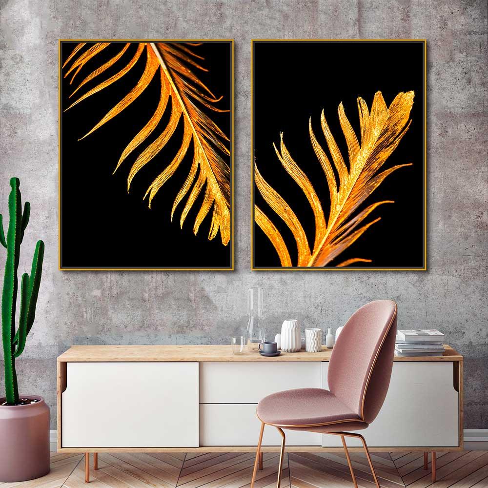 Quadros Decorativos em Tecido Canvas - Folhas Douradas Gold
