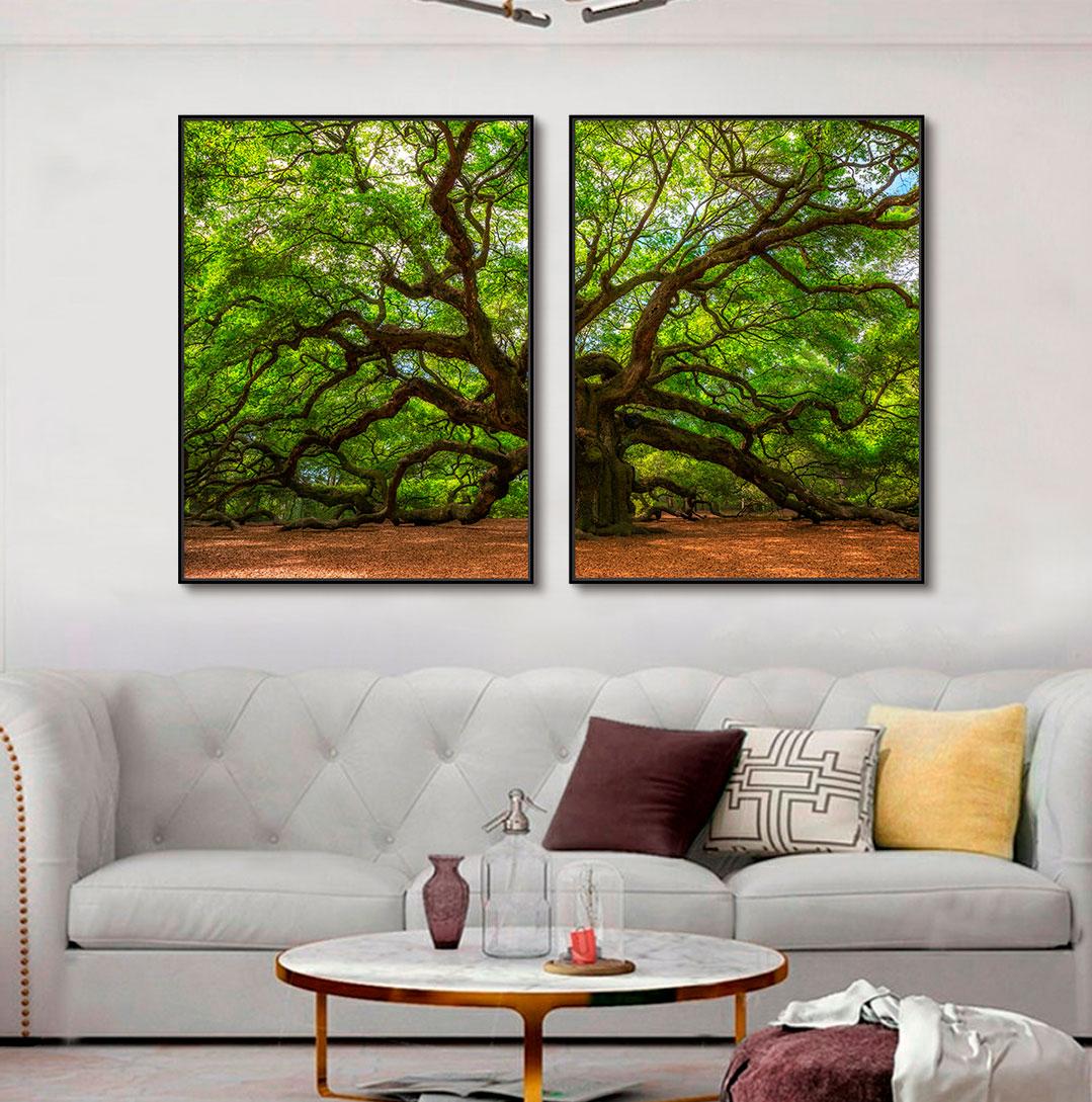 Quadros Decorativos em Tecido Canvas - Fotografia Árvore e Galhos