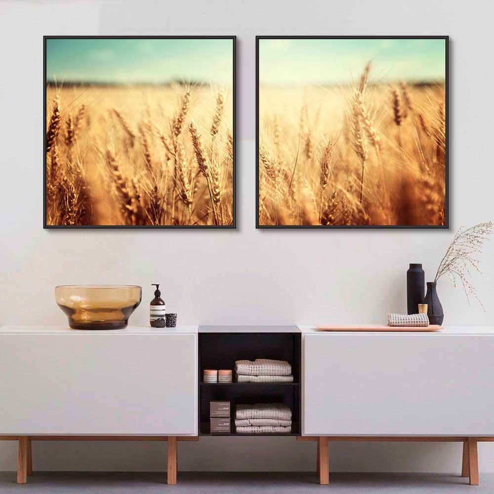 Quadros Decorativos em Tecido Canvas - Fotografia Plantação Trigo