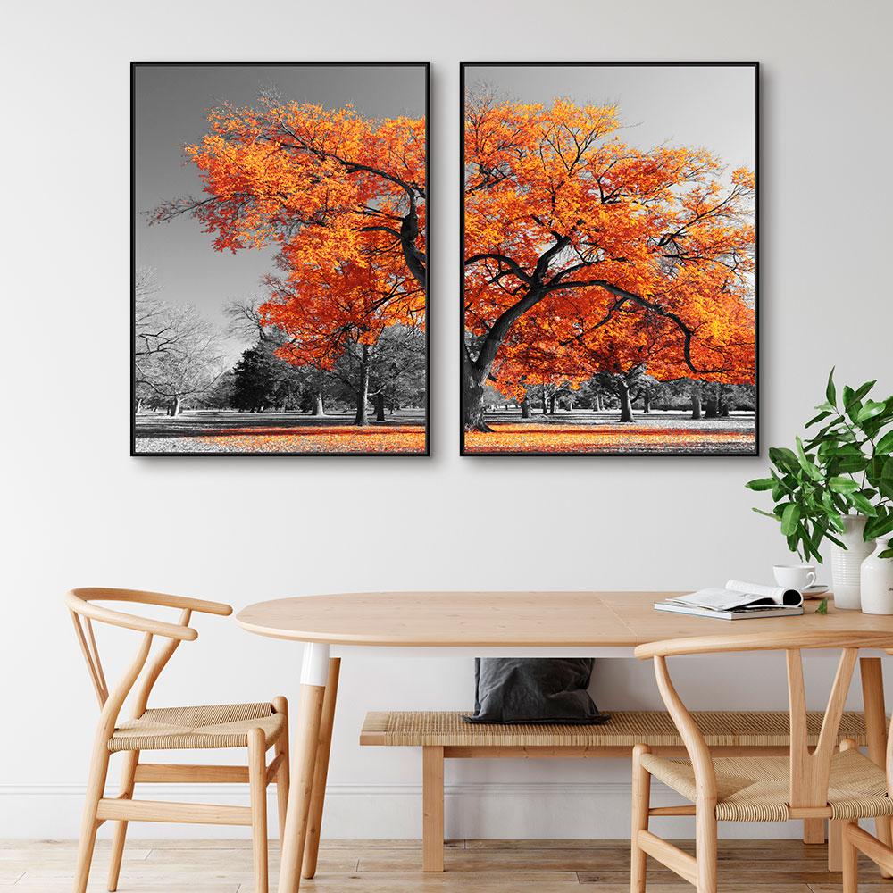 Quadros Decorativos em Tecido Canvas - Paisagem Árvore e Folhas