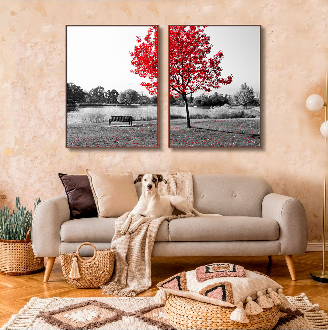 Quadros Decorativos em Tecido Canvas - Paisagem Árvore Folhas Vermelhas