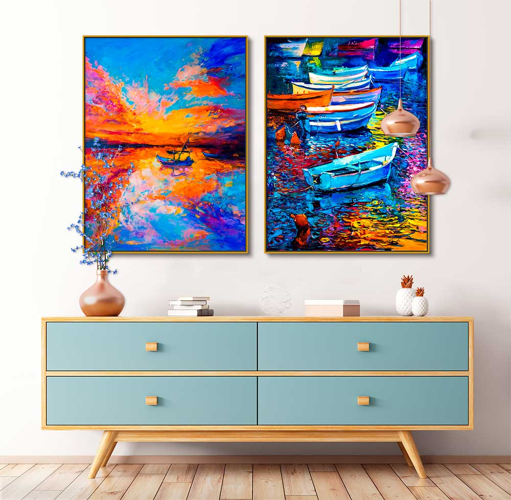Quadros Decorativos em Tecido Canvas - Paisagem Pintura Barcos