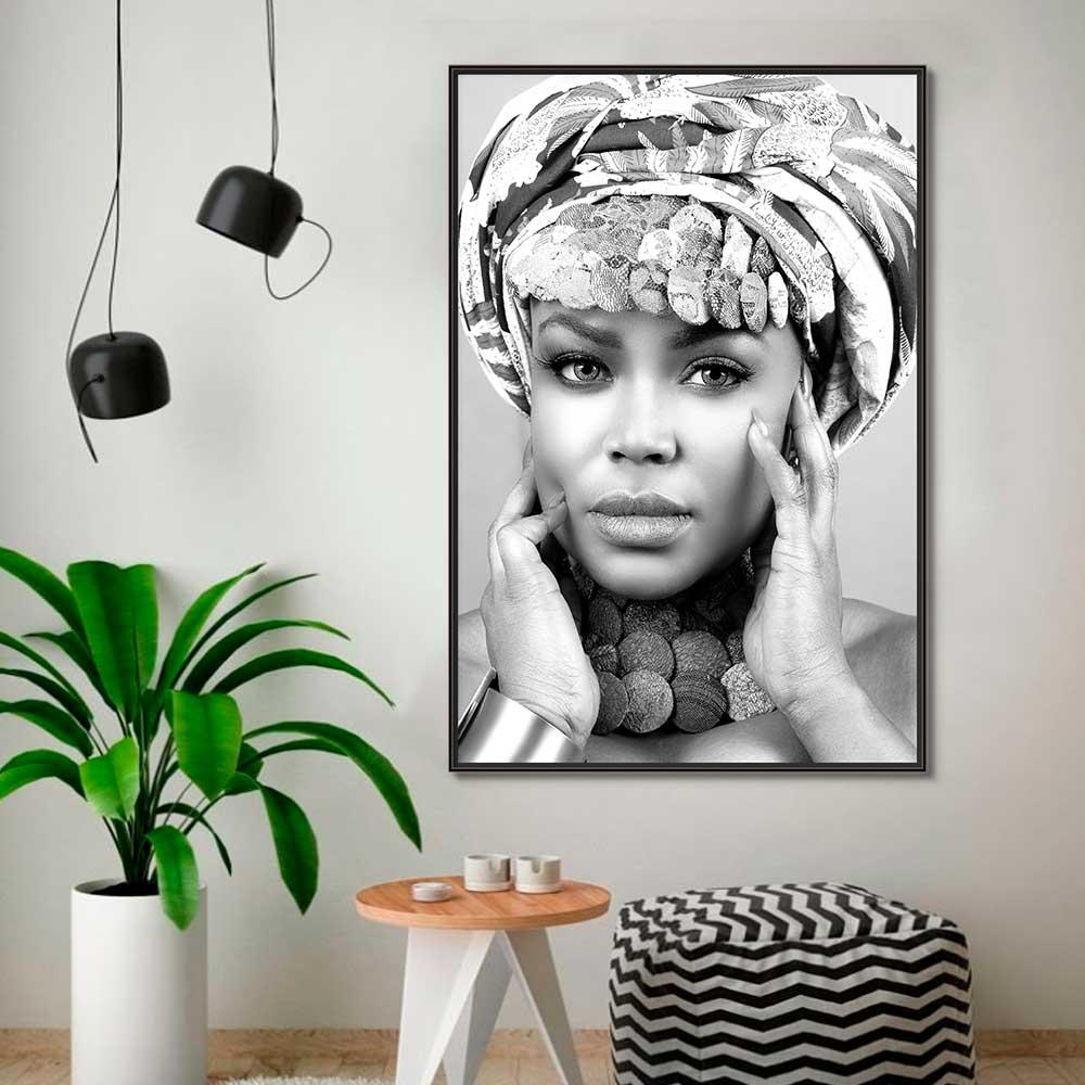 Quadros Decorativos em Tecido Canvas - Rosto Feminino Preto e Branco