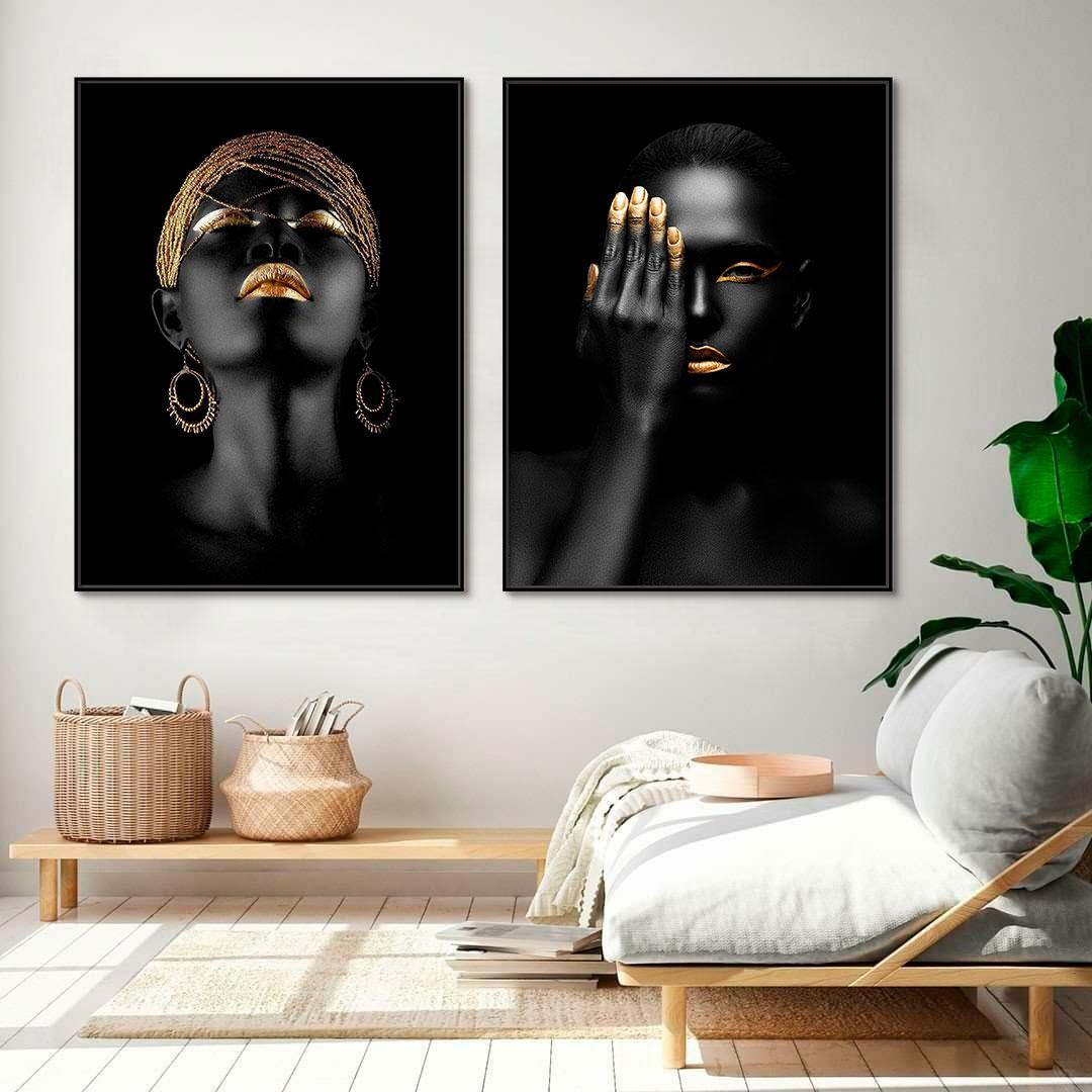 Quadros Decorativos em Tecido Canvas - Rostos Com Dourado