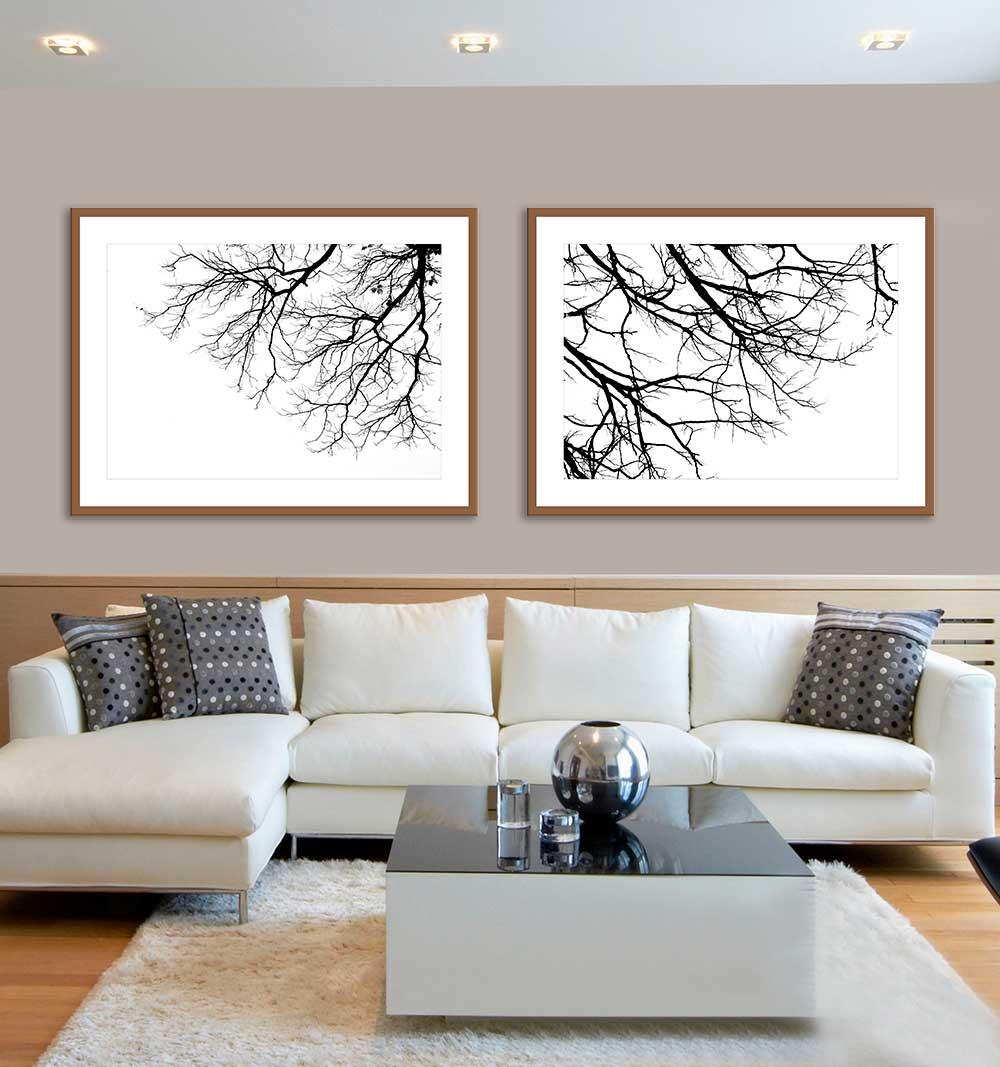 Quadros Decorativos Galhos De Árvore Preto e Branco