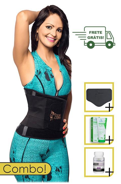 Kit Seca Cintura Plus - Took Shape + Creme Emagrecedor + Capsulas Emagrecedoras + Tala de contenção