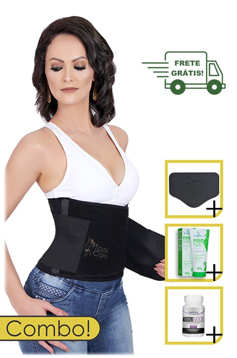Kit Seca Cintura Premium Plus - Took Neo + Creme + Cápsulas + Tala de Contenção Abdominal