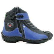 Bota Atron Shoes 271 Motociclista Cano Baixo  - Azul Preto