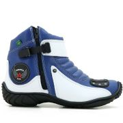Bota Atron Shoes Motociclista 271 Cano Baixo - Azul Branco